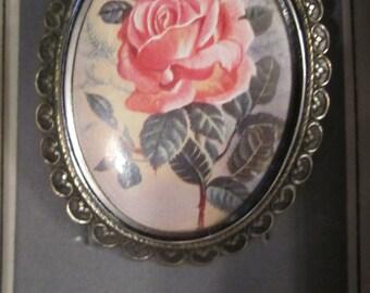 Vintage Pink Rose Brooch - Thoms L Mott England