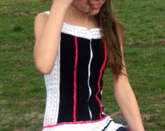 Black, White and Pink Crochet Girl's Dress