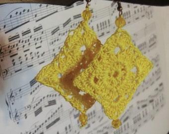Yellow crochet earrings, yellow crochet Earringes