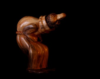 "Wood Carving, Abstract Figure, Hand Carved, ""The Friar"""