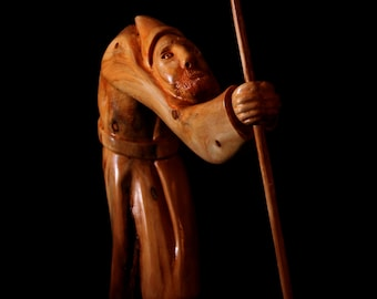 "Wood Sculpture, Hand Carved, Figurine, ""The Shepherd"""