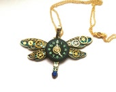 Steampunk Dragonfly necklace, blue gold steampunk insect, watch parts jewellery, insect jewellery, dragonfly jewelry, libellula, unique gift