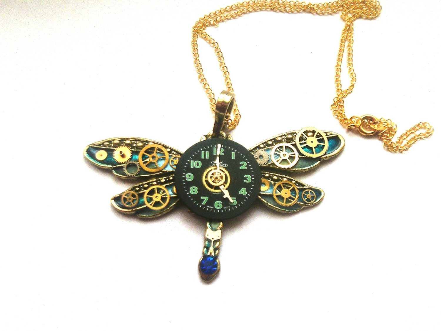 Steampunk Dragonfly necklace blue gold by DragonflyHJewellery