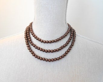 Long Pearl Necklace, Brown Glass Pearls unique for Wedding, Bridesmaid Gifts, Mother of the Bride, Birthday, Anniversary