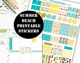 Summer Beach Printable Planner Stickers // Erin Condren Printable / Plum Paper Planner / Summer Printable Digital Download 00039