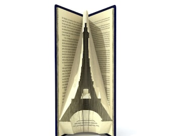 Book folding pattern - EIFFEL TOWER - 126 folds + Tutorial with Simple pattern - Heart - SI0508