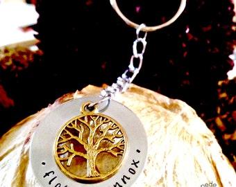 Tree of Life Keyring, Aluminimum, Handstamped