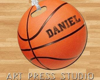 Basketball Bag Tag, Sports Bag Tag,  Personalized Basketball Tag, Kids Sports Bag Tag, Double Sided Custom Bag Tag