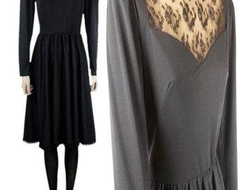 Vintage Leygil London 80s Skater Dress Black with Lace Inserts UK 12