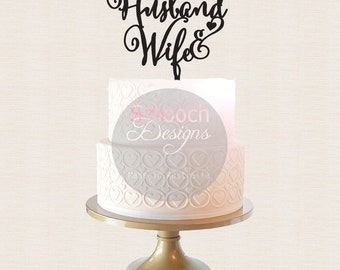 Quirky Husband & Wife Wedding Cake Topper  with Heart -  Cake Topper - Glitter / Acrylic