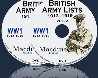 British Army Lists 1913 to 1919 including World War 1 (1913-1918) – 65 Vintage e-Books Collection on 2 DVD's