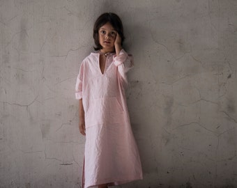 Beautiful Kids pure linen caftan.Pale Rose color.