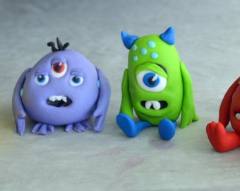 Set of 4 Little Monster Cake Toppers (100% Edible)