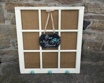 Burlap Barn Window with Sign