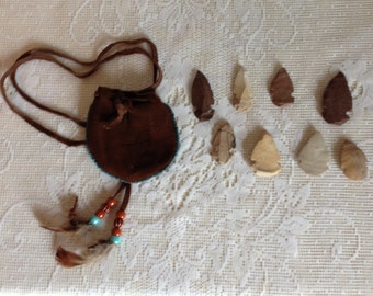 Native American-Inspired Suede Pouch with Assortment of Hand-Carved Arrowheads
