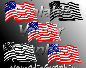 5 Waving American Flag Designs - Vector Cut Files - SVG / DXF / EPS