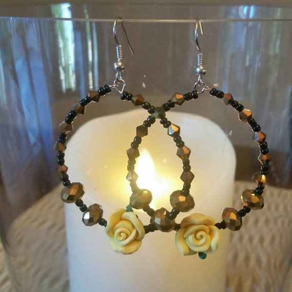 SALE Belle Earrings, Beauty and the Beast Inspired Earrings, Yellow or Red Rose Earrings, Vintage Rose Earrings, Rose Hoop Earrings