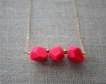 bright pink geometric necklace