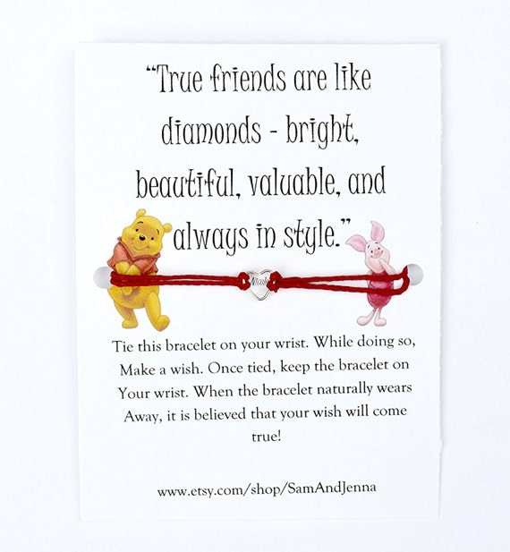Winnie The Pooh And Piglet Quotes About Friendship Gorgeous Winnie The Pooh Friendship Wish Bracelet Piglet Cute Gift