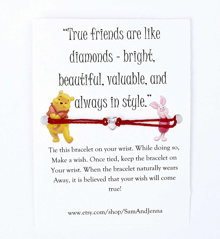 Winnie The Pooh Friends Quote: Winnie The Pooh Friendship Wish Bracelet Piglet Cute Gift