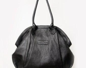 "Vegetable tanned leather bag - ""Gloriana"" Black"