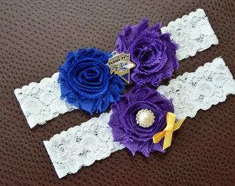 Baltimore Ravens Wedding Garter Set, Ravens Garter,Baltimore Ravens Bridal Garter Set, White Lace Wedding Garter, Football Wedding Garter
