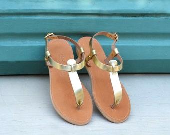TAF, Leather sandals, T-strap women's sandals, Gold sandals, Handmade Greek sandals