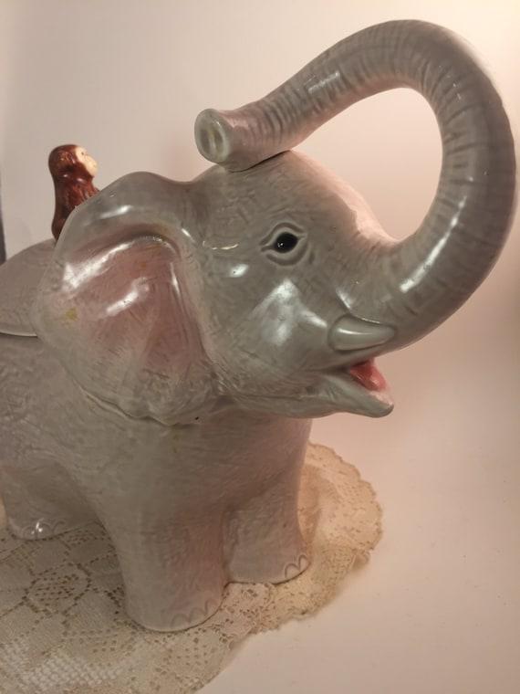Vintage elephant cookie jar 1950s vintage by distinctivevintage1 - Vintage elephant cookie jar ...