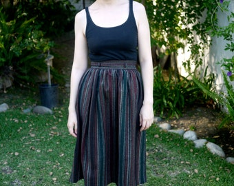 Vintage 1970s Wool Striped Midi Skirt