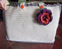WHITE tote bag with floral embellishment....carry all essentials, laptop