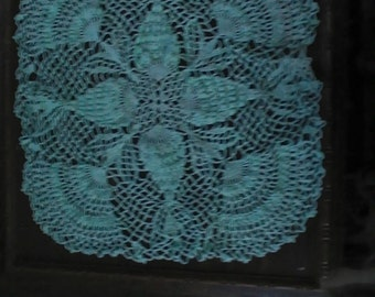 Mint green square pineapple doily