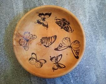 Pyrography wood Bowl