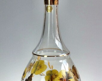 Hand Painted Romanian Glass Decanter Gold Trim with Ground Stopper Vintage Bohemian Glass Pansies