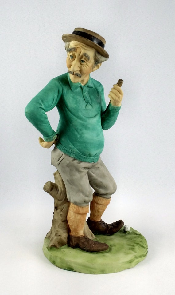 Pucci Signed Bisque Porcelain Old Man Golfer Figurine Vintage