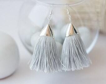 Tassel Earrings, Grey Silk Earrings, Textile Earrings, Tassel Jewelry, Eco Friendly, Gipsy Fringe Earrings, Boho