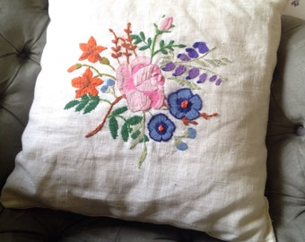 Linen Floral Embroidered Pillow, Bouquet of Blue, Pink, Purple, Orange, White, Throw/Decorative Cushion.