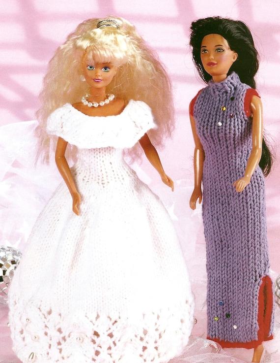 Knitting Pattern Barbie Doll Wedding Dress & Chinese Dress