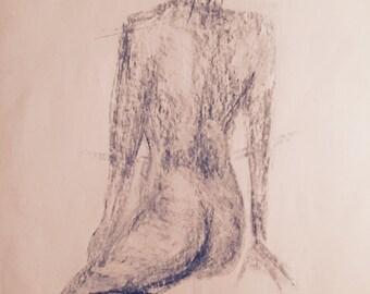 Woman facing away. Charcoal drawing.14/17