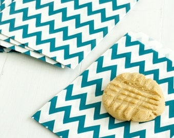 10 Navy Chevron Design Treat Bags- Use for Party Favors, Cookie Bags, Popcorn Bags, Wedding Favors, Candy Bags, Snack Bag, and more!