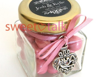 Wedding Favour Bomboniere - Chocolates Candy Jar with Personalised Label
