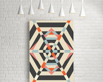 Umbrella - abstract geometric art poster,mid century modern, retro wall poster, colourful poster, room decor, stripes poster, original work