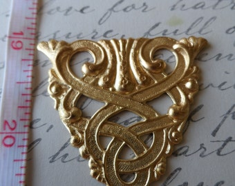 Celtic design triangle stamping raw brass