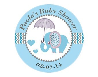 Printable Blue Elephant Umbrella Baby Shower Sticker gift tag