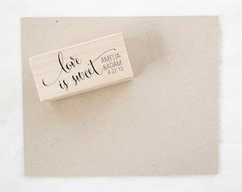 Wedding Favor Stamp - love is sweet - wedding stamp - custom stamp - custom wedding stamp - favor stamp - rubber stamp - Z1025
