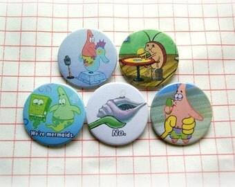 Sponge Bob - pinback button or magnet 1.5 Inch