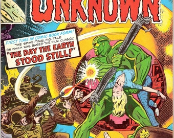 The Day the Earth Stood Still, Worlds Unknown 3 comic book. Sci-Fi Movie, Horror, Creature, Monster. 1974 Marvel Comics in FVF (7.0)