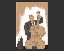 Drawing» bassist with cat»
