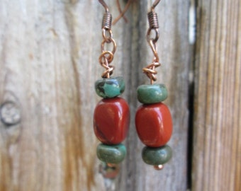Red Jasper and Turquoise Earring