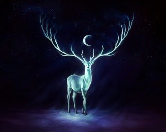 Night Bringer - Original Signed Fine Art Giclee Print - Wall Decor - Fantasy Deer Painting by Jonas Jödicke