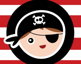 Pirate Party For Kids - Thank You Flags - Favor Flags